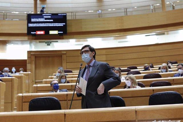 El ministro de Sanidad, Salvador Illa, interviene durante una sesión de control al Gobierno en la Cámara Alta, en Madrid (España), a 6 de octubre de 2020.