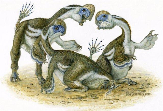 Dinosuarios como loros de dos metros excavados en el desierto de Gobi