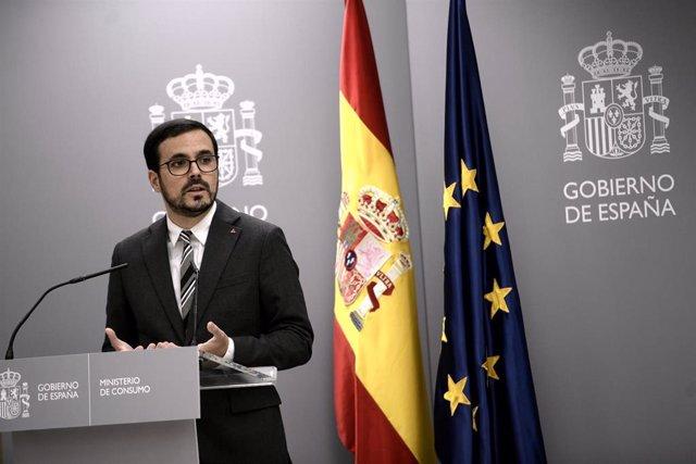 El ministro de Consumo, Alberto Garzón, ofrece una rueda de prensa sobre los resultados del estudio de Vigilancia del Crecimiento, Alimentación, Actividad Física, Desarrollo Infantil y Obesidad en España (Aladino 2019), en Madrid (España), a 30 de septiem