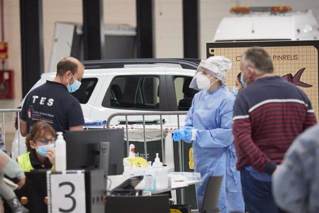 Recinto Ferial de Navarra, en Pamplona, donde el Departamento de Salud del Gobierno de Navarra realiza pruebas PCR de detección del Covid-19.