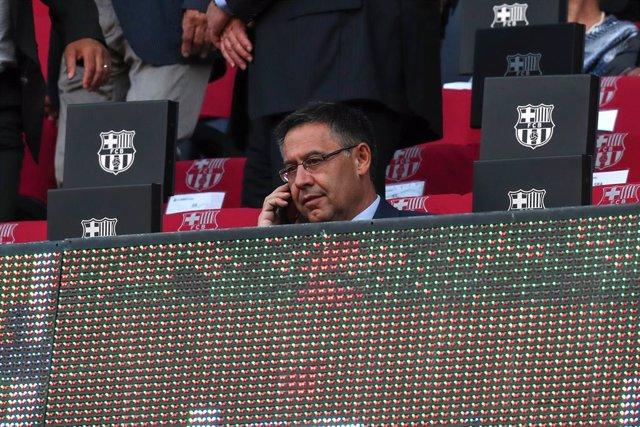 El president del FC Barcelona Josep Maria Bartomeu a la llotja del Camp Nou