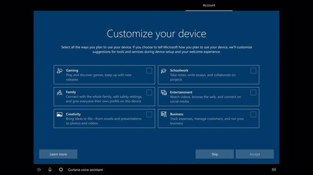 Microsoft prueba una pantalla de configuración de Windows 10 que permite elegir