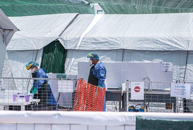 Instalaciones de MSF en Moria (Grecia) durante la pandemia de coronavirus