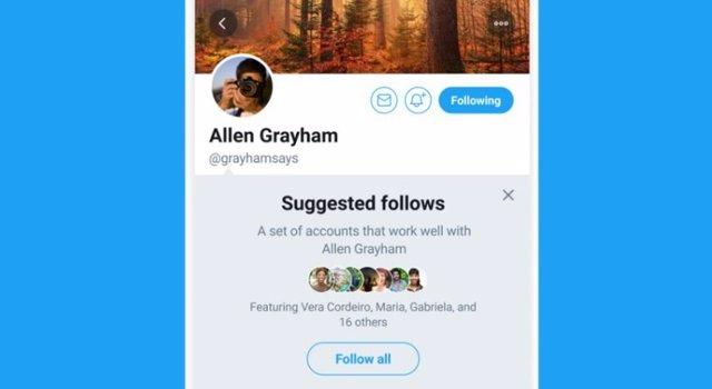 Twitter sugiere un grupo de cuentas a las que seguir y añadir con un solo toque