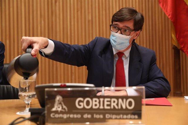 El ministro de Sanidad, Salvador Illa, durante la Comisión de Sanidad y Consumo del Congreso de los Diputados, en Madrid, (España), a 8 de octubre de 2020.