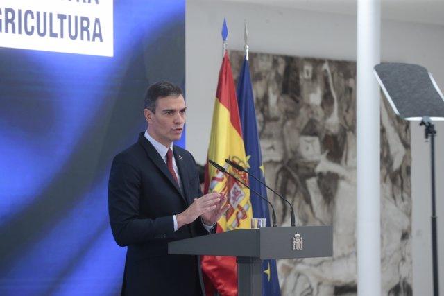 El presidente del Gobierno, Pedro Sánchez, interviene durante la presentación del Plan de Recuperación, Transformación y Resiliencia de la Economía Española, en Madrid, (España), a 7 de octubre de 2020.