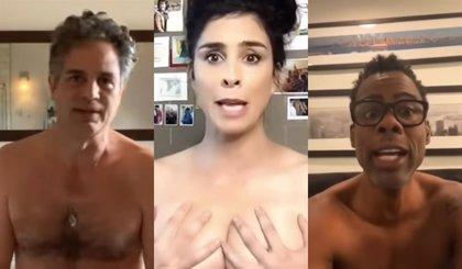 Mark Ruffalo, Sarah Silverman, Naomi Campbell y más famosos, desnudos por el voto por correo