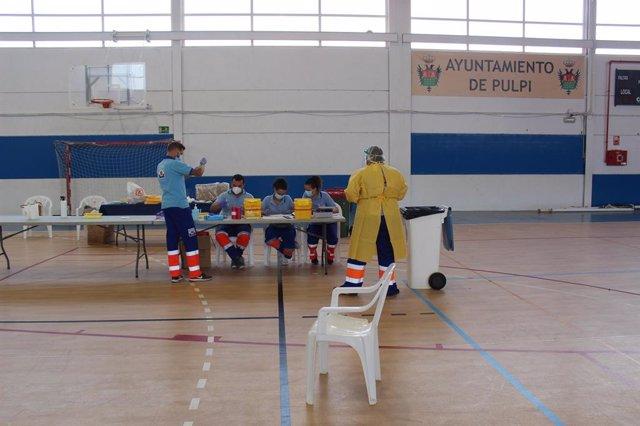 Test de covid-19 en el Pabellón de Pulpí (Almería)