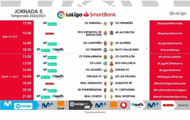 Fútbol/Segunda.- LaLiga modifica los horarios de la jornada 5 en la Liga SmartBa
