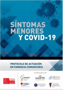 Cartel del documento 'Síntomas menores y COVID-19. Protocolo de actuación en farmacia comunitaria'.