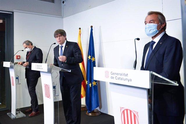 Els expresidents de la Generealitat Artur Mas, Carles Puigdemont i Quim Torra a Perpinyà (França)