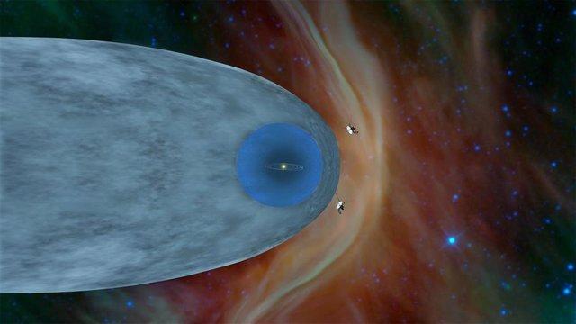 Esta ilustración muestra las sondas Voyager 1 y Voyager 2 de la NASA fuera de la heliosfera, la burbuja protectora creada por el Sol alrededor de nuestro sistema solar.