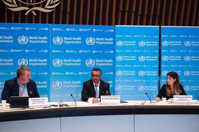 El director general de l'Organització Mundial de la Salut, Tedros Adhanom Ghebreyesus, compareix en roda de premsa per informar sobre l'evolució de la pandèmia de coronavirus. 18 de març del 2020.