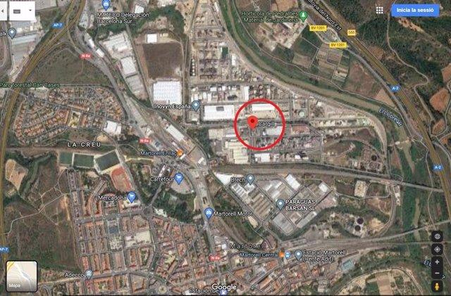 Ubicació de l'empresa Cargill, a Martorell (Barcelona)