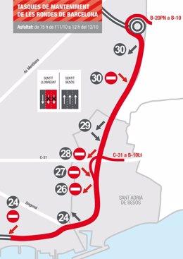 La Ronda Litoral de Barcelona estarà tallada per obres a l'asfalt aquest cap de setmana