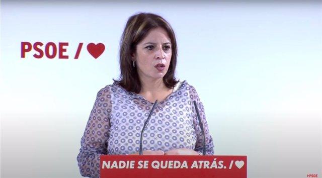La sotssecretària general i portaveu socialista al Congrés, Adriana Lastra, durant un acte a Alcalá de Henares (Madrid)