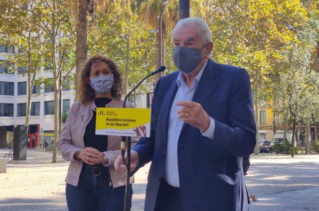 Pla americà de la consellera de Justícia, Ester Capella, i del líder d'ERC a l'Ajuntament de Barcelona, Ernest Maragall, el 12 d'octubre de 2020 (Horitzontal)