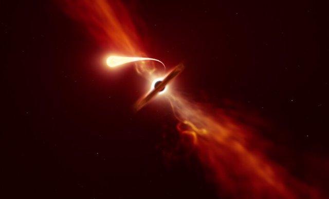 Agujero negro captado en detalle succionando una estrella cercana