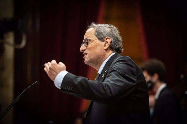 L'expresident de la Generalitat Quim Torra intervé durant una sessió plenària monogràfica al Parlament. Barcelona, Catalunya (Espanya), 30 de setembre del 2020.