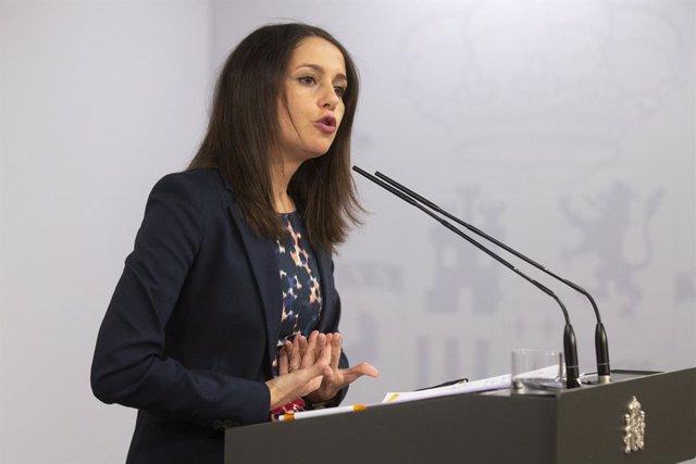 La presidenta de Ciutadans, Inés Arrimadas, en una roda de premsa. Madrid (Espanya), 2 de setembre del 2020.