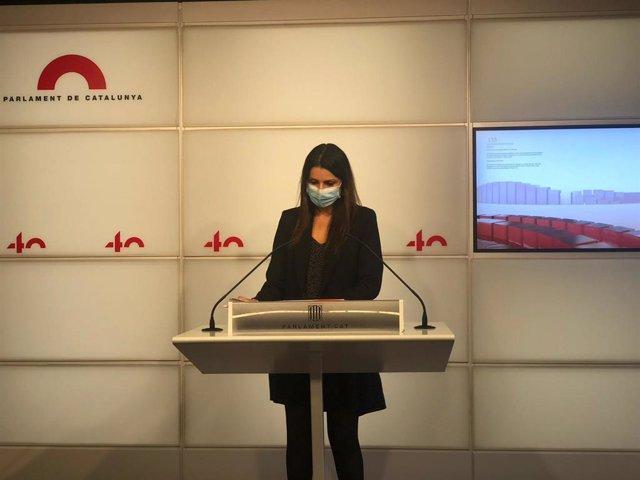 La portaveu de Cs al Parlament, Lorena Roldán, en una roda de premsa el dimarts 13 d'octubre del 2020