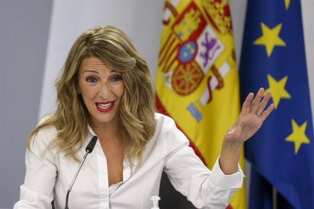 La ministra de Treball, Yolanda Díaz, en roda de premsa després del Consell de Ministres. Madrid (Espanya), 13 d'octubre del 2020.