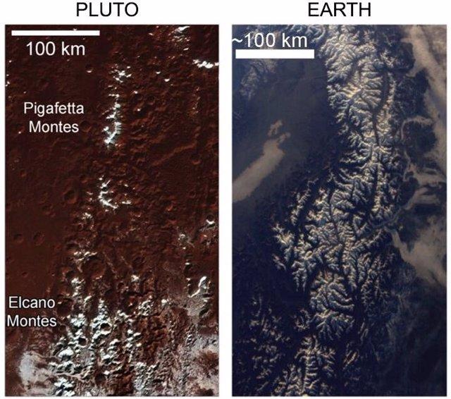 Las montañas nevadas de Plutón se explican por un proceso único