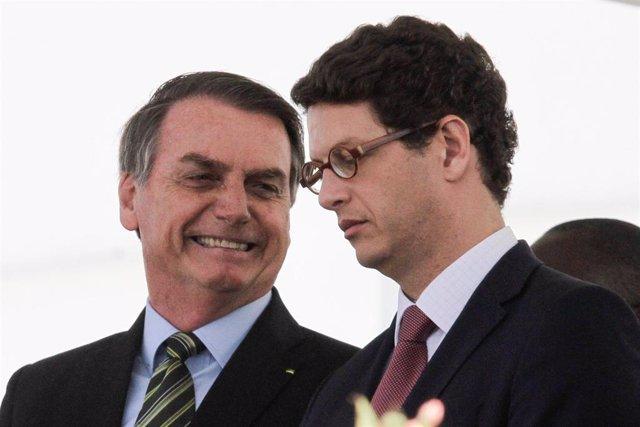 El presidente de Brasil, Jair Bolsonaro, y el ministro de Medio Ambiente, Ricardo Salles.
