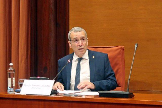 El síndic d'Aran, Francesc Xavier Boya, durant la compareixença al Parlament. Imatge del 14 d'octubre de 2020. (Horitzontal)