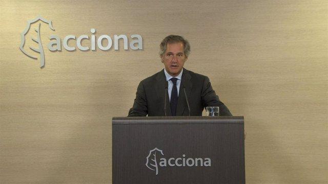 El presidente de Acciona, José Manuel Entrecanales, en su intervención ante la junta de accionistas de 2020, celebrada de forma telemática