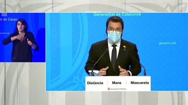 El vicepresident en funcions de president de la Generalitat, Pere Aragonès, en roda de premsa telemàtica.