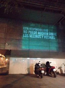 Imagen proyectada por la asociación Hacenderas en la fachada de la Junta de Retiro