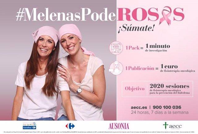 Carrefour y Ausonia presentan la cuarta edición de la campaña '#MelenasPodeRosas' en favor de la AECC