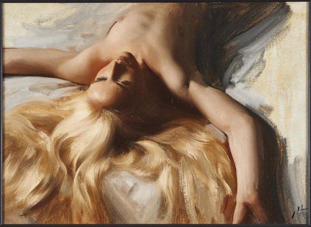 La obra 'Afterwards', del pintor sueco Nick Alm, es una de las pinturas que podrán verse en la muestra 'Eros. Tu cuerpo como excusa' en el Museo Europeo de Arte Moderno (MEAM) de Barcelona, hasta el 13 de diciembre.
