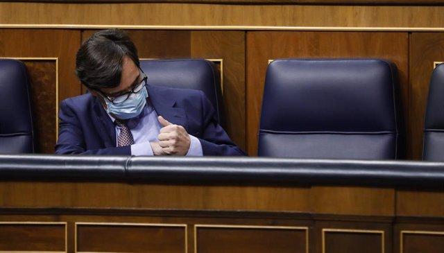 El ministro de Sanidad, Salvador Illa, durante en una sesión plenaria en el Congreso de los Diputados, en Madrid, (España), a 15 de octubre de 2020. Esta sesión se centrará, entre otras cuestiones, en explicar el estado de alarma decretado en Madrid.