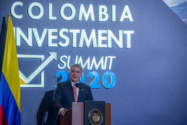 El presidente de Colombia, Iván Duque, durante su intervención en el Colombia Investment Summit