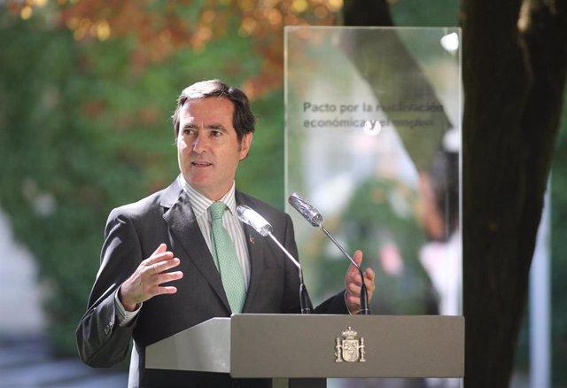 El presidente de la Confederación Española de Organizaciones Empresariales (CEOE), Antonio Garamendi
