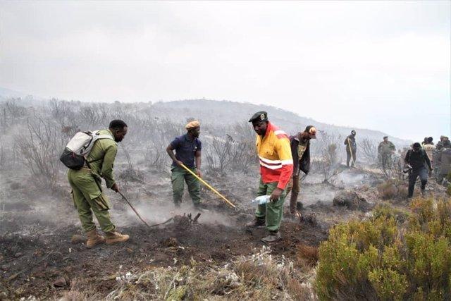 Un grupo de guardas forestales y bomberos en plenas labores de extinción del últ