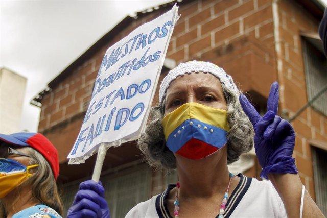 Protesta de los trabajadores sanitarios en Caracas