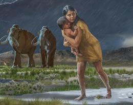 Una larga pista de huellas fósiles humanas revela una historia maternal