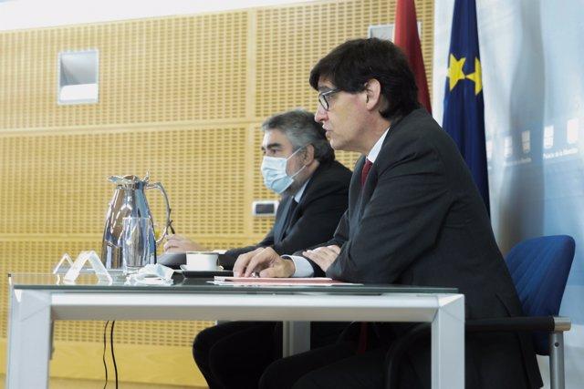 Los ministros de Sanidad, Salvador Illa, y de Cultura y Deporte, José Manuel Rodríguez Uribes, en la reunión con los consejeros de Sanidad y de Cultura de las CC.AA. Y con la Federación Española de Municipios y Provincias el 16 de octubre de 2020.