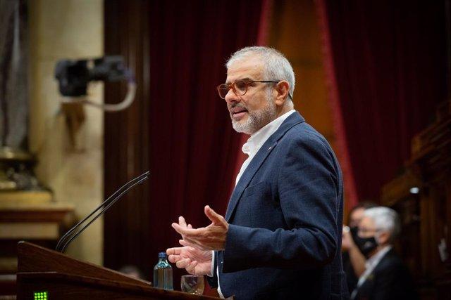 El líder de Cs a Catalunya, Carlos Carrizosa, intervé en un ple celebrat al Parlament de Catalunya per tractar la crisi sanitària del coronavirus. Barcelona, Catalunya (Espanya), 6 d'octubre del 2020.