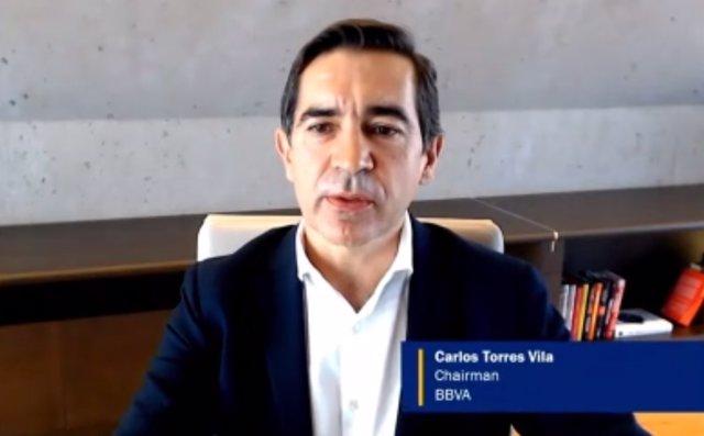 El presidente de BBVA, Carlos Torres, durante su intervención en el 'Annual Membership Meeting' organizado por el Instituto Internacional de Finanzas (IIF).