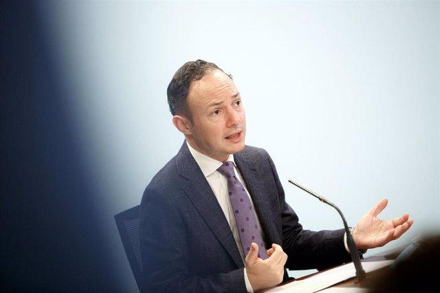 El cap de govern, Xavier Espot, durant la compareixença d'aquest divendres.