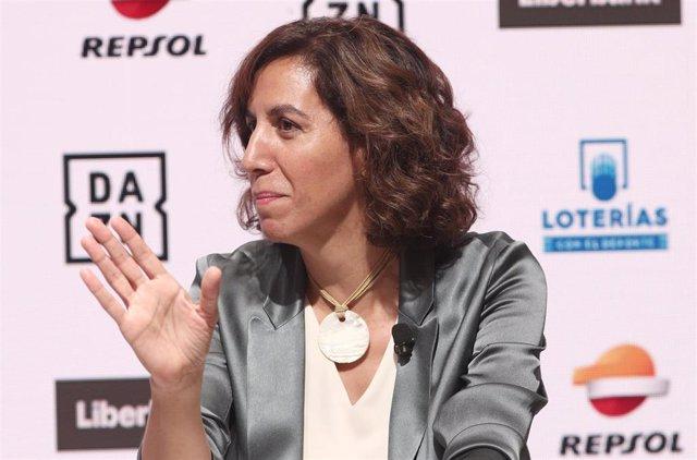 Irene Lozano interviene para hablar de los retos que afronta el deporte español tras el confinamiento por la COVID-19 en la inauguración de la decimotercera temporada de los Desayunos Deportivos de Europa Press