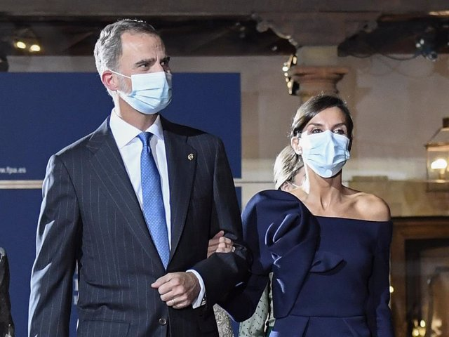 King Felipe VI of Spain and Queen Letizia of Spain depart the Princesa de Asturias Awards 2020 ceremony at the Reconquista Hotel on October 16, 2020 in Oviedo, Spain.