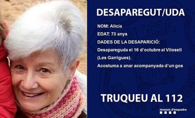 La fotografia d'Alícia Cuadrado, la dona desapareguda al Vilosell (Garrigues).