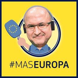 Logotip del podcast setmanal de les institucions europees a Barcelona 'MasEuropa', amb Sergi Mas