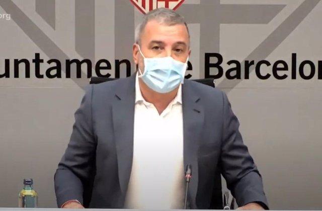 El primer tinent d'alcalde de Barcelona, Jaume Collboni, en roda de premsa.
