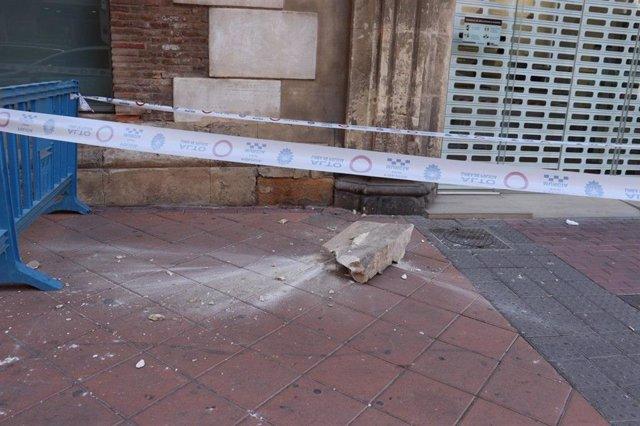 Cascote caído del edificio de los 'Nueve Pisos'